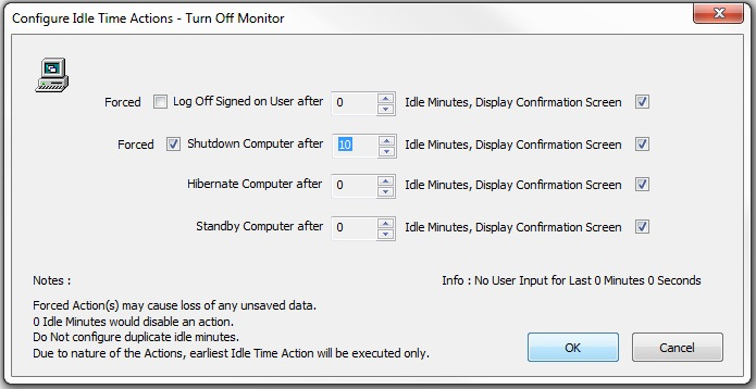 Configure Idle Time Action To Shutdown