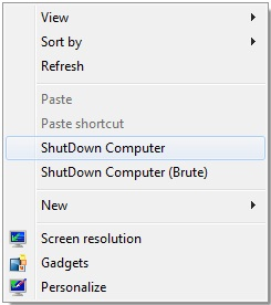 Shutdown Computer Desktop Right Click Menu