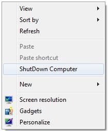 Desktop Right Click Menu to ShutDown Computer