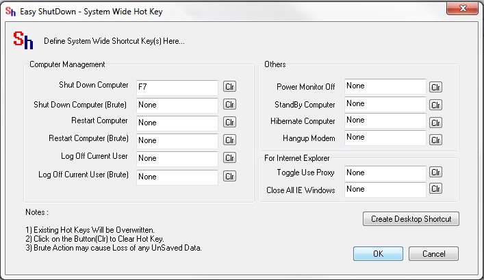 System Wide Hot Key To Shutdown Computer