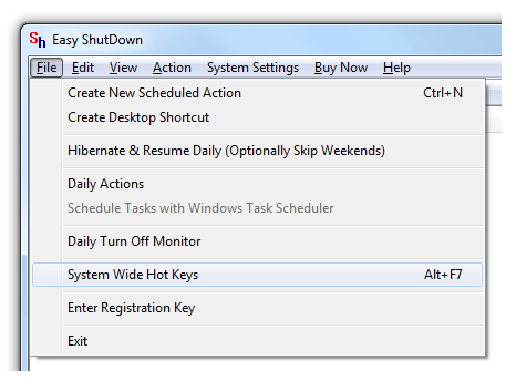 Launch System Wide Keys option from the Easy Shutdown Menu